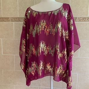 Umgee Plus Purple Sheer Top with Gold sequins